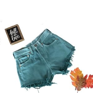 Levi's Teal Distressed Shorts